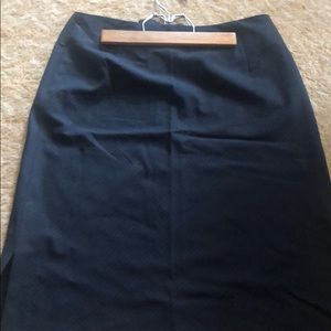 High waisted navy pin stripe skirt
